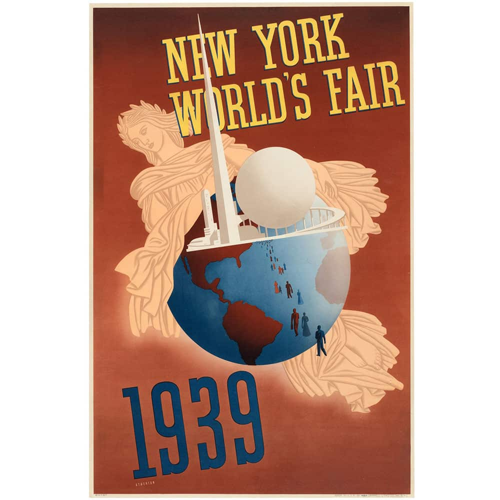 Deco Poster 1939 New York World S Fair Trylon And Perisphere Art Deco Poster Peekaboo Gallery