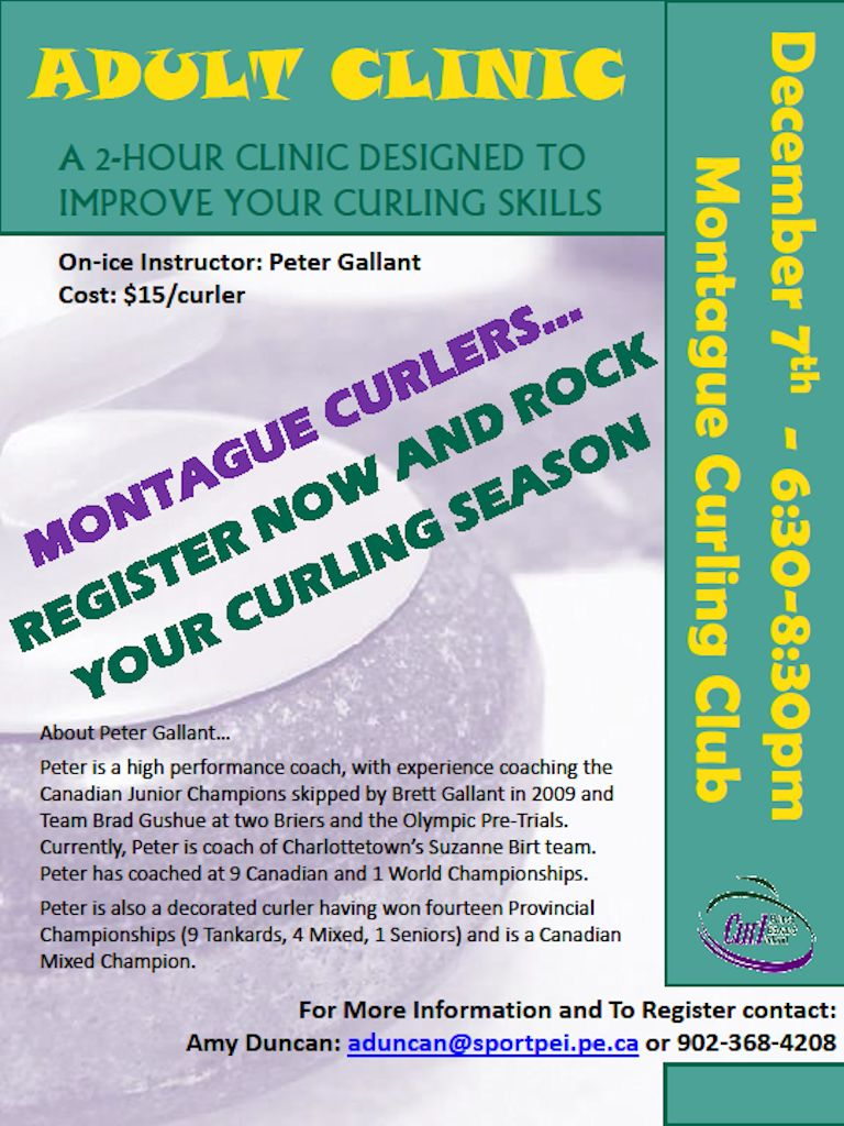 Adult Club Curling Clinic with Peter Gallant @ Montague Curling Rink