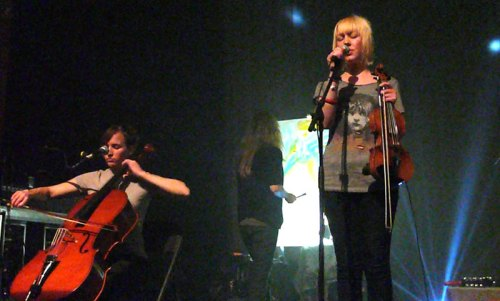 Cloud Cult violinist Shannon Frid sings as cellist Sarah Young