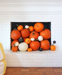 Fall Mantel Decor - Pumpkins in the Chimney - Pencil ...