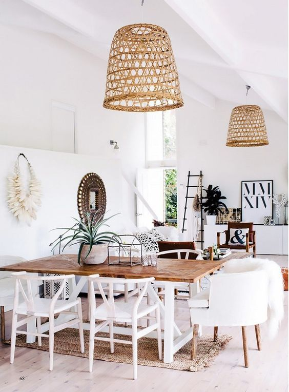 Stylish Kitchen Islands Rattan Pendants Are Having A Moment - Pencil Shavings