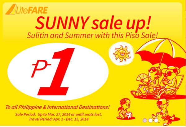 P1 Piso Fare Promo 2014 for April to December 15 via Cebu Pacific