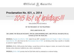 Malacanang Declared 2015 Regular and Special Holidays