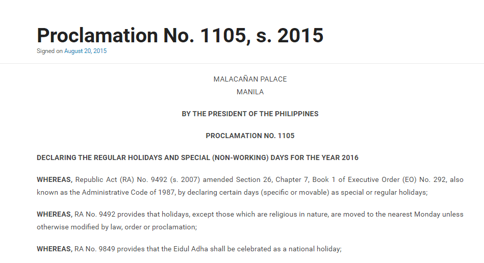 Declared the 2016 Holidays - List of Regular and Special Holidays ...
