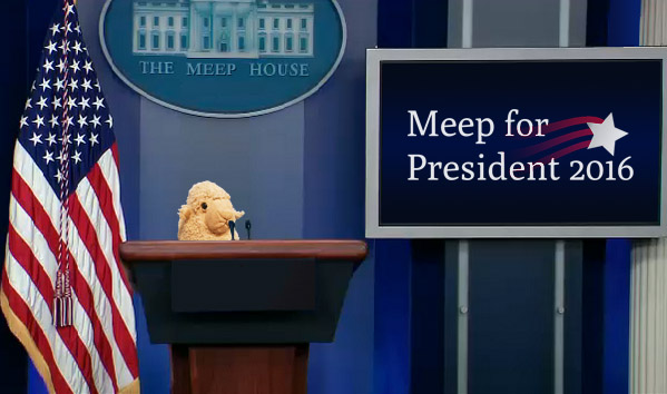 Meep at the Meep House Podium