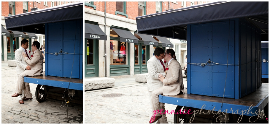 Wedding photos at South Street Seaport
