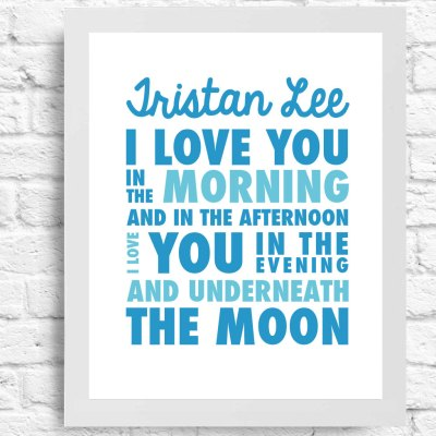 I Love You Underneath The Moon- Wall Art - Nursery Art- Customizable Name- Inspirational Quote- Baby Girl or Boy Nursery- Typography