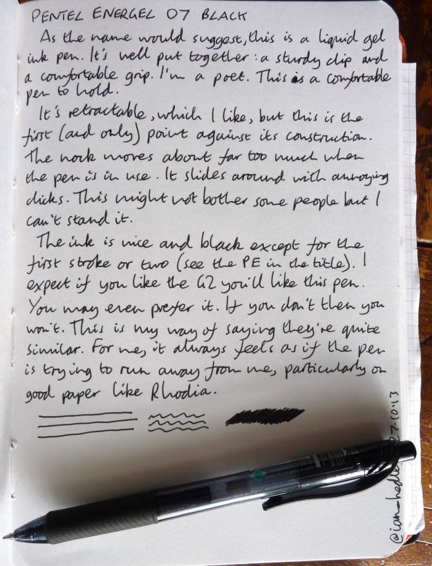 Pentel Energel 07 handwritten review