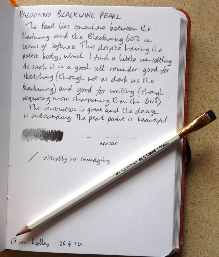 Palomino Blackwing Pearl pencil handwritten review