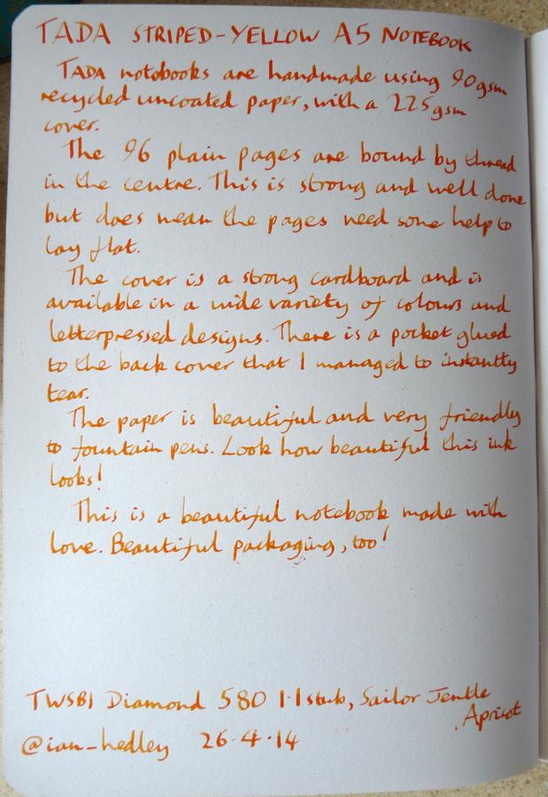 Tada A5 notebook handwritten review