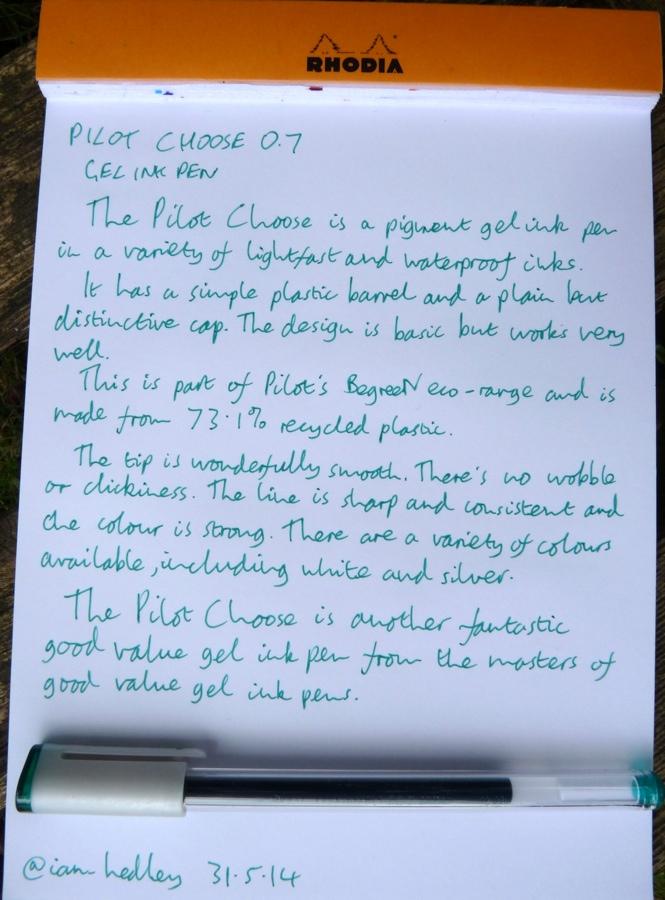 Pilot Choose gel ink pen handwritten review