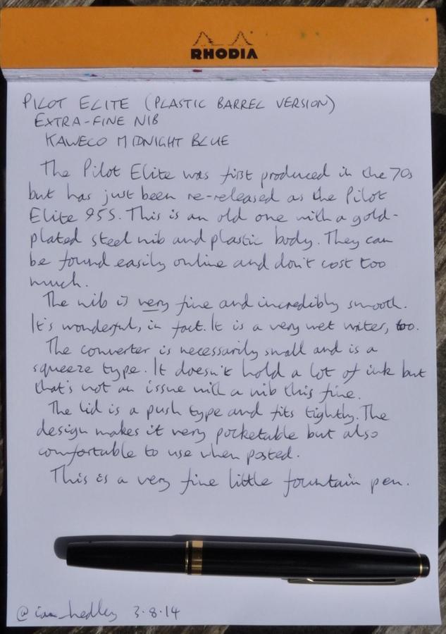Pilot Elite handwritten review