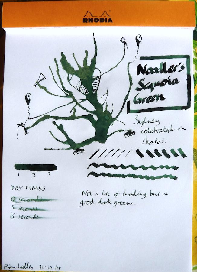 Noodlers Sequoia Green Inkling doodle