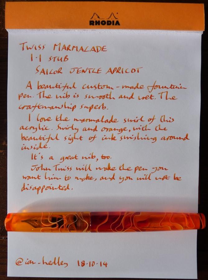 Twiss Marmalade handwritten review