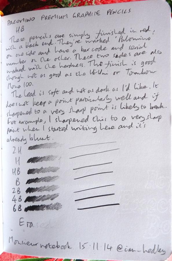 Palomino Graphite handwritten review