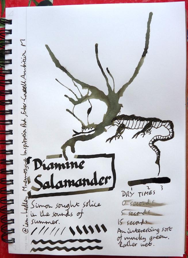 Diamine Salamander Inkling doodle