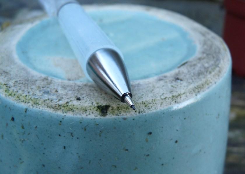 Muji Acrylic mechanical pencil pointy end