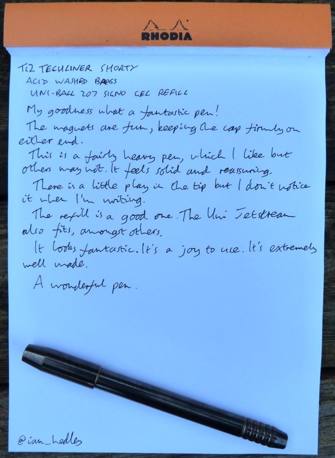 Ti2 TechLiner handwritten review