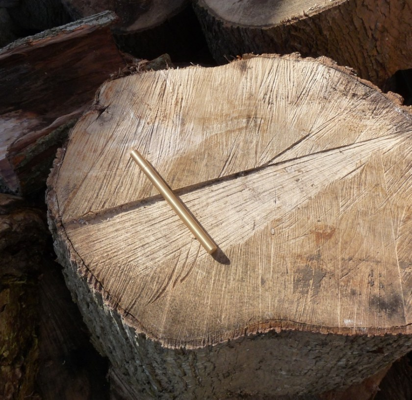 Ateleia Brass Pen on a log