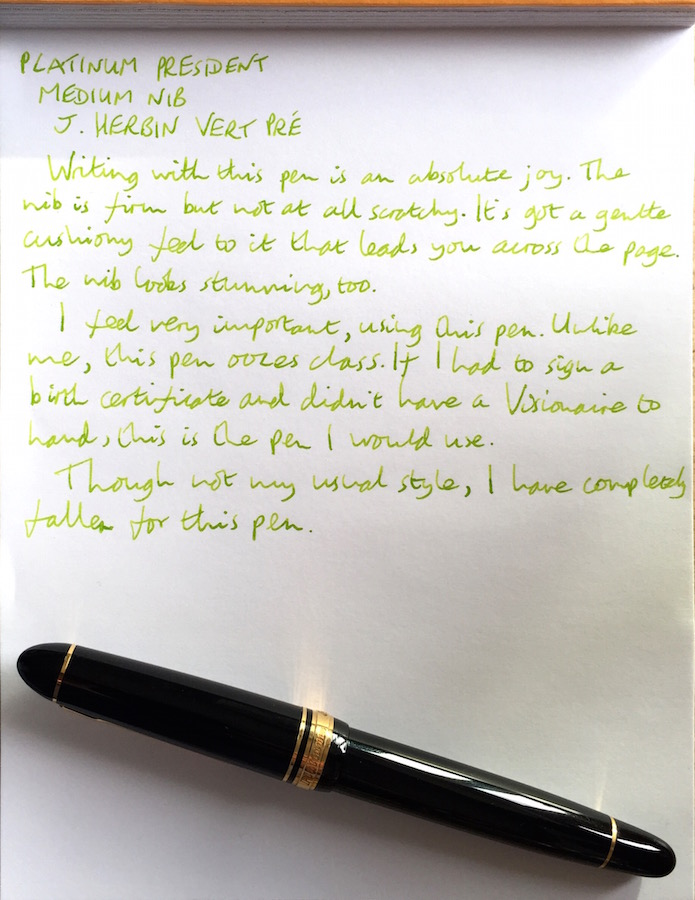 Platinum President handwritten review