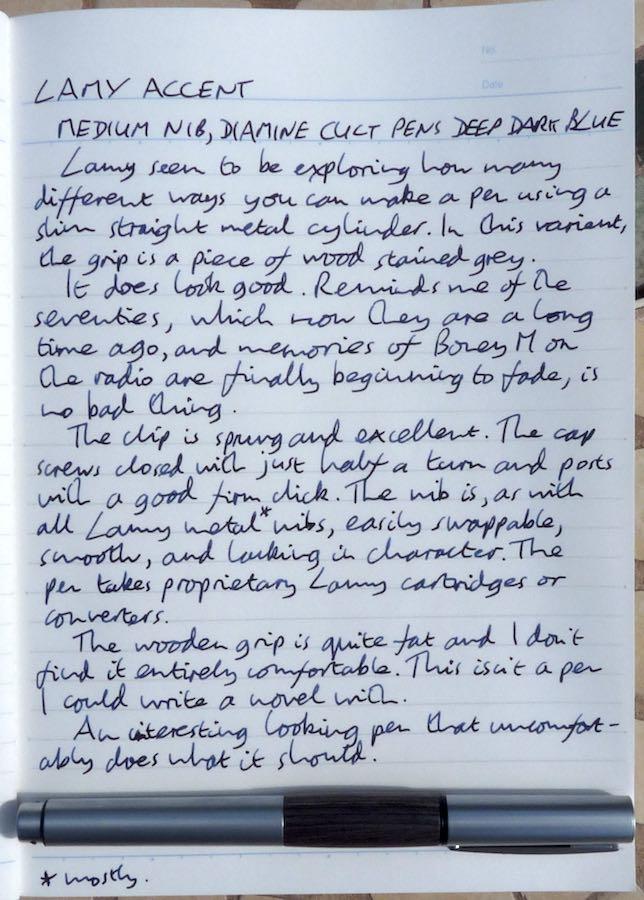 Lamy Accent handwritten review
