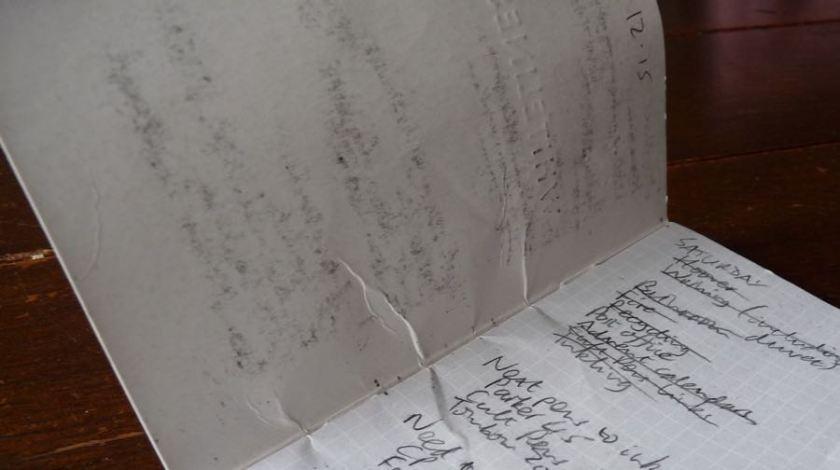 Whitelines Pocket notebook battered inside cover