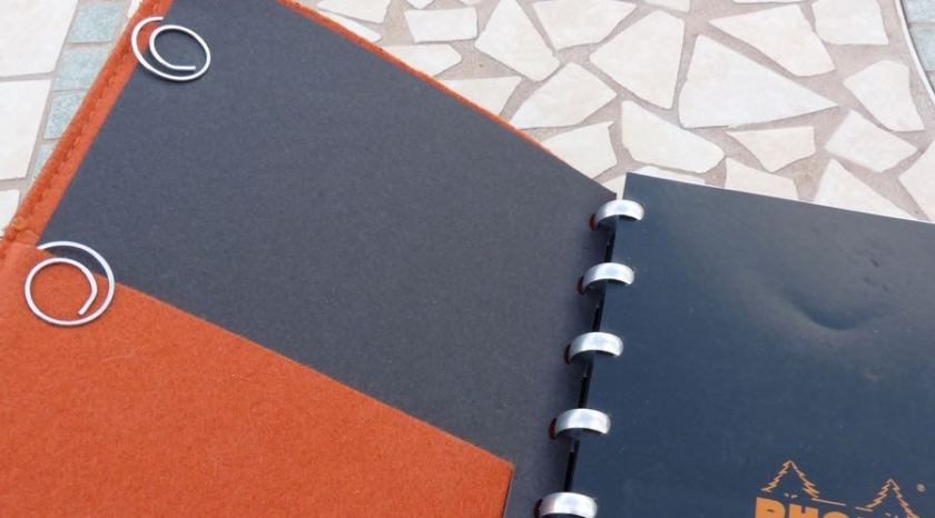 The cardboard cover that came with the Rhodia notebook is held in place with a couple of clips