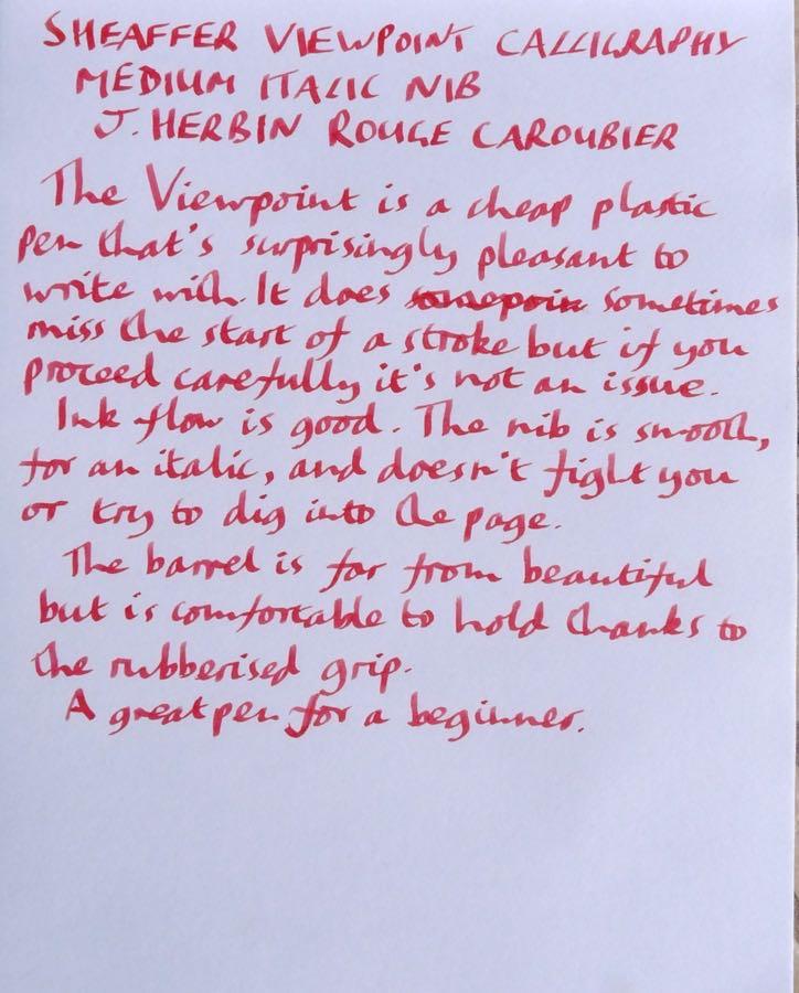 Sheaffer Viewpoint Calligraphy handwritten review
