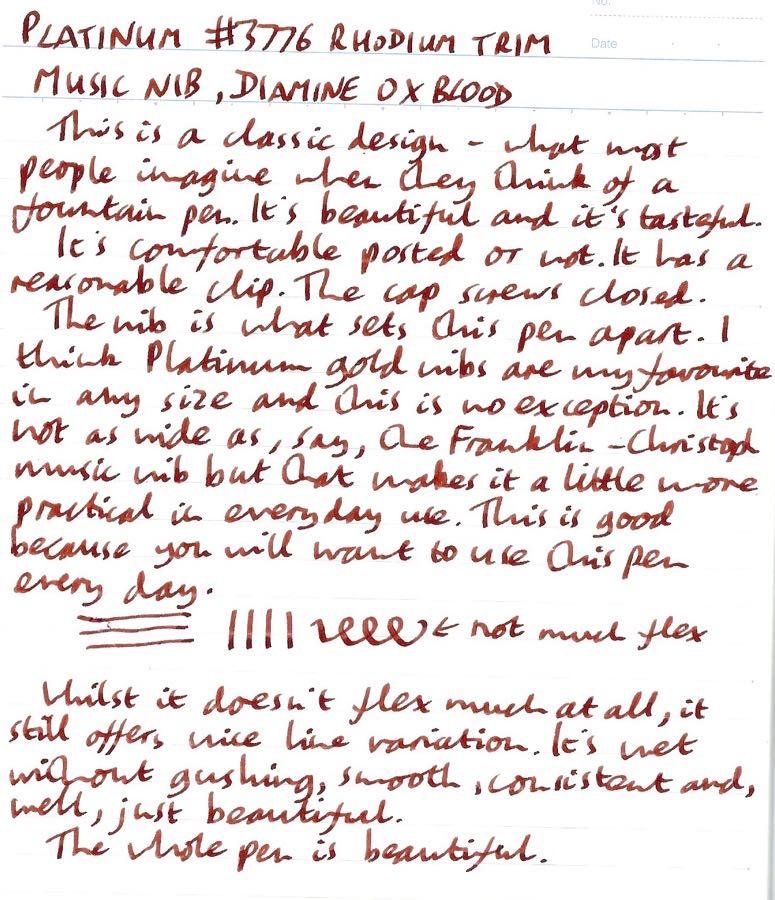 Platinum 3776 Rhodium Music handwritten review