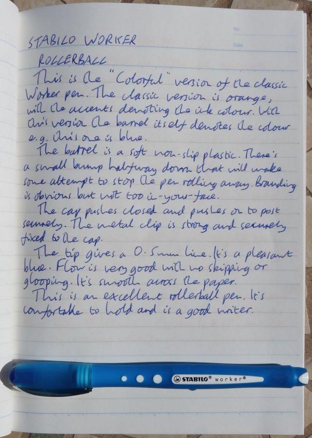 Stabilo Worker handwritten review