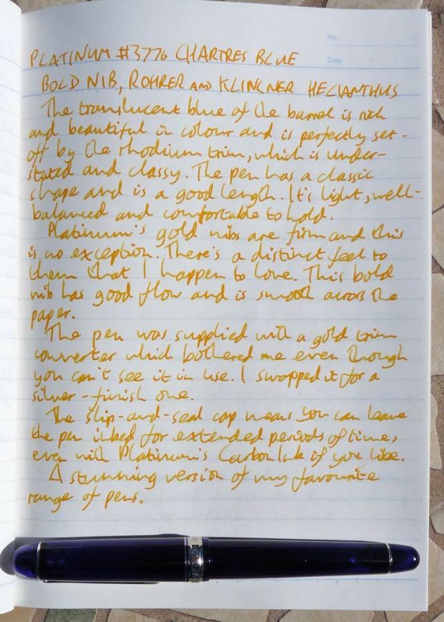 Platinum 3776 Chartres Blue handwritten review
