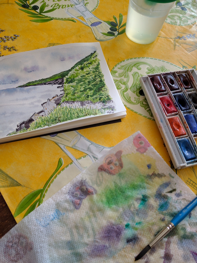 Hallsands with paints