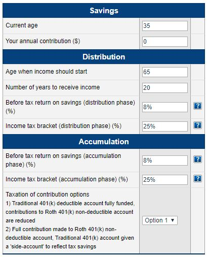 Roth vs Traditional 401k Calculator - Pensionmark