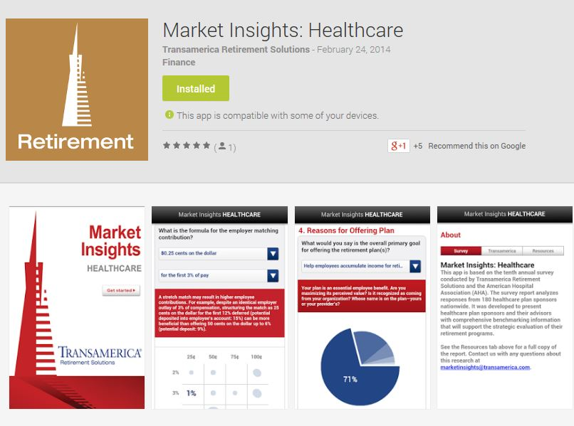 Retirement Plan Market Insights Healthcare App Your Money, Your - transamerica retirement solutions