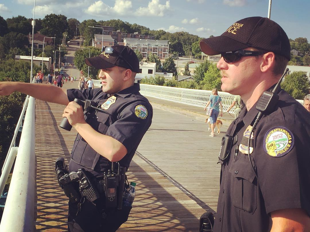 Chattanooga Police observe a Black Lives Matter march