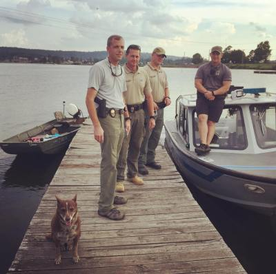 """The case of the """"stolen"""" johnboat solved. Four agency APB. Fastest response ever. Found drifting and brought to hotel dock by a boat repair fella"""