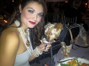 Alex and her Yorkie, Alfie, are dressed to impress at the Paws Fur Ball.