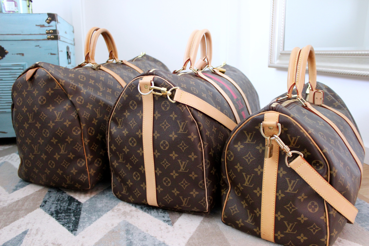 Handgepäck Reisetasche Louis Vuitton Keepall Guide Pepper And Gold