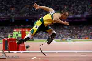 FOR USE AS DESIRED, YEAR END PHOTOS - FILE - In this Aug 5, 2012 file photo, South Africa's Oscar Pistorius starts in the men's 400-meter semifinal during the athletics in the Olympic Stadium at the 2012 Summer Olympics in London. (AP Photo/Anja Niedringhaus, File)