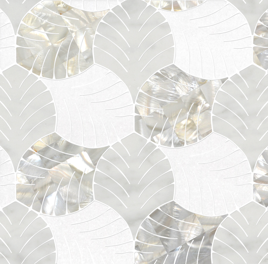 Decorative Tile Borders Foliage Mosaic - Thassos White + Mother Of Pearl + Bianco