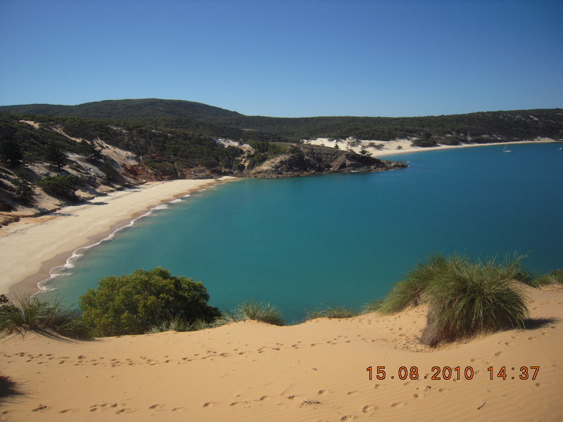 Dolphin and Whites Bay from the dunes above Dolphin Bay.  The promontory with the signed trail is in-between the bays.