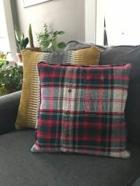 Upcycled Flannel Throw Pillow - perennial