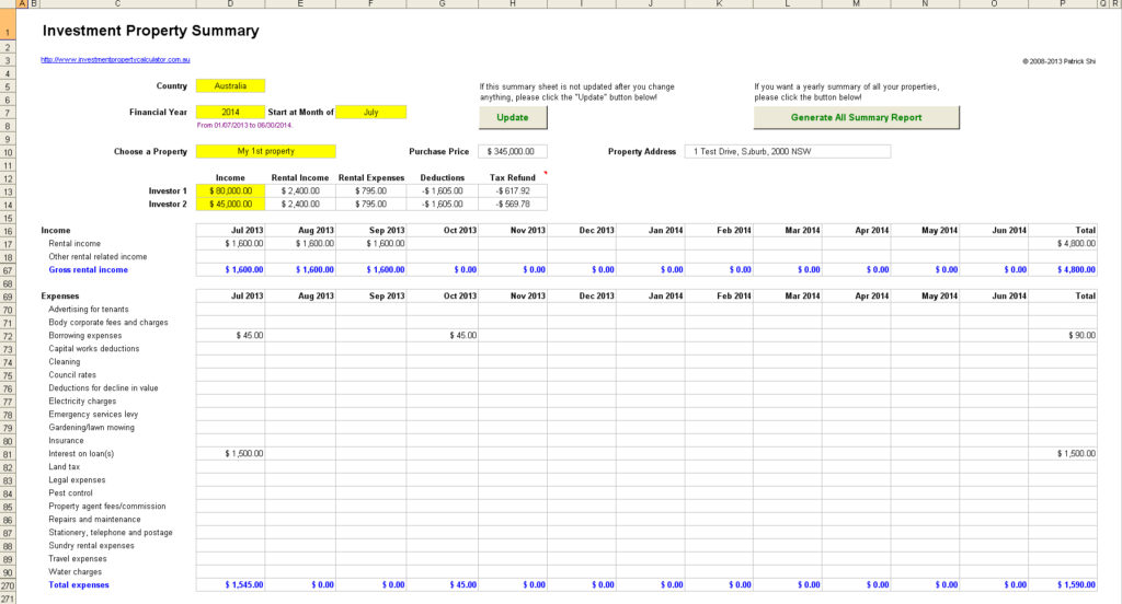 investment property spreadsheet