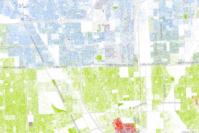 In Detroit, among the most segregated cities in America, 8 Mile Road serves as a sharp dividing line. Image: Dustin Cable White: blue dots; African American: green dots; Asian: red; Latino: orange; all others: brown (wired magazine)