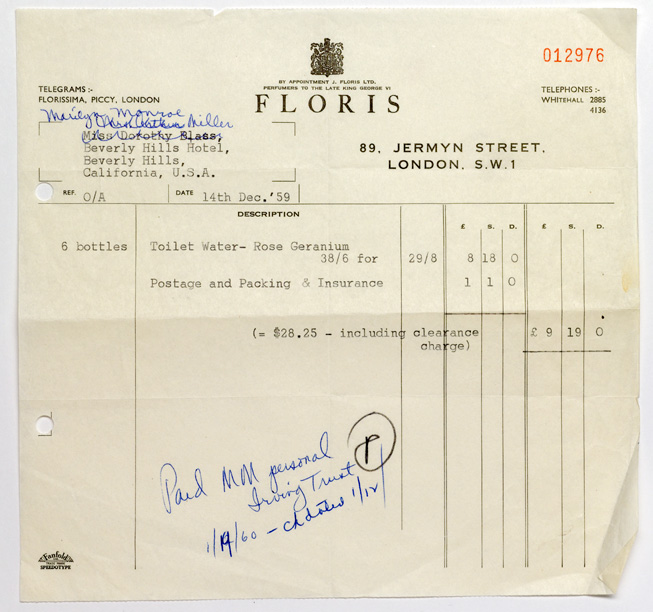 Marilyn Monroe\/aka Norma Jean Bakeru0027s order from Floris for the - money receipt design