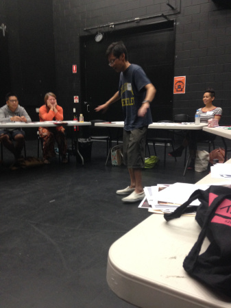 Actor Simon Chan telling a story about a drowning.  Photo: Ellie Freeman