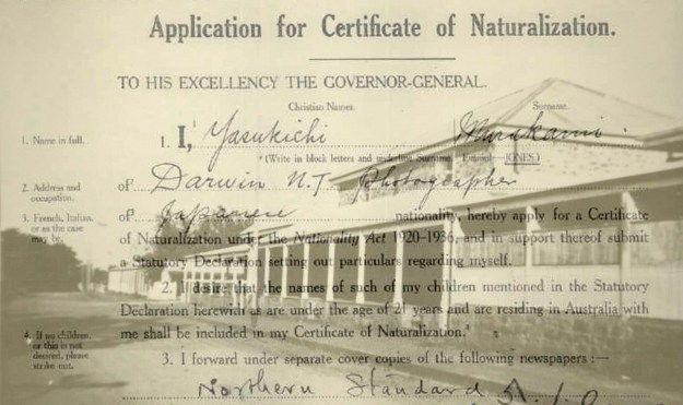 Yasukichi Murakami applied for naturalization in 1939. Not accepted because of established government policy To not naturalise Asiatics and other coloured persons. - Darwin Courthouse, Photo by Y. Murakami circa 1938, courtesy of Murakami family archives; National Archives of Australia A659, 1939/1/12989