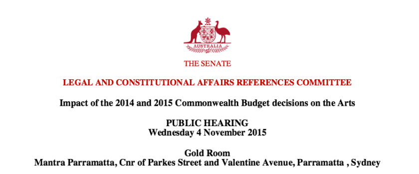 Senate Inquiry into the arts