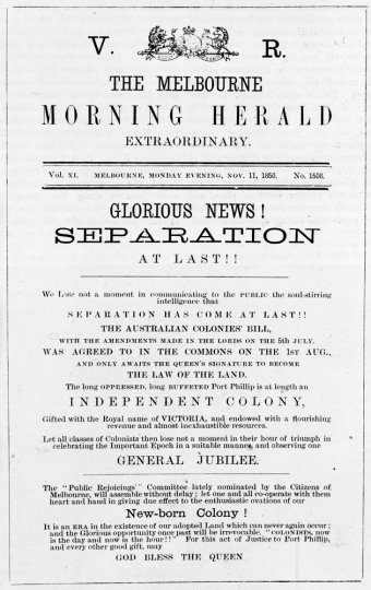 Headline proclaiming the separation of Victoria from New South Wales, 1850. (www.slv.vic.gov.au)