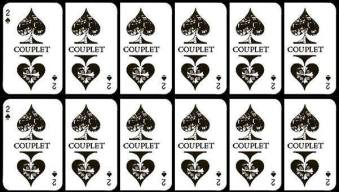 repeated print of 2 of Ace cards with 'Couplet' written in the center.